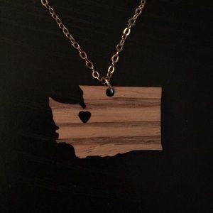 Wood Washington State necklace